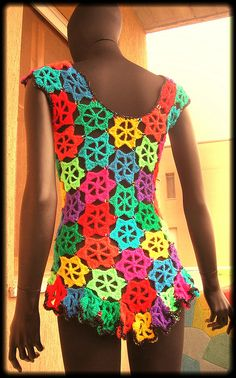Rainbow Flowers Crochet Vest With Sequins by babukatorium, via Flickr