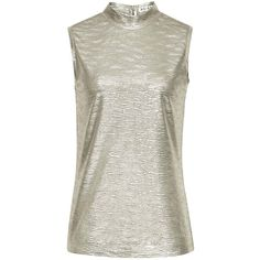 Reiss Tamla Jersey High Neck Tank Top, Gold Shimmer (340 NOK) ❤ liked on Polyvore featuring tops, white tank top, high neck top, white jersey, gold tank top and sleeveless tops