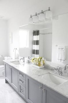 Master bath remodel - grey cabinets with carrera marble. Accents: yellow or navy? Grey Bathroom Cabinets, Grey Cabinets, Bathroom Renos, Master Bathroom, Gray Bathrooms, Bathroom Colors, Kitchen Cabinets, Master Baths, Family Bathroom