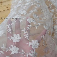 Off White Lace Fabric Flower Embroidered Lace Gauze Elastic Stretch Curtain Fabric Lace- One yard Lace
