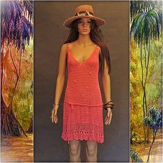 Vtg Crochet lace DRESS Watermelon Sheer Slinky Sexy by Andeebird, $48.00