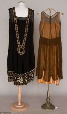 TWO SILK PARTY DRESSES, 1920s 1 black chiffon robe de style, gold soutache embroidery & rhinestones descend CB & trim hem. accordian pleated brown chiffon over pink satin, irridescent ombre ribbon flower trims. Front