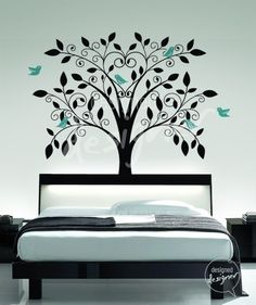 Ornate Tree Wall decal with Little Birds Wall decals wall sticker vinyl art, bedroom, wall mural- Bird Wall Decals, Wall Stickers, Tree Decals, Bedroom Wall, Bedroom Decor, Wall Decor, Master Bedroom, Headboard Decal, Baby Room Themes