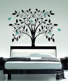 Ornate Tree with Little Birds vinyl  wall by designedDESIGNER on Etsy