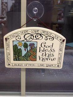 ceramic plaque, great housewarming gift!  #ceramic #plaque #pottery #home  #God  #Bless #housewarming #gift