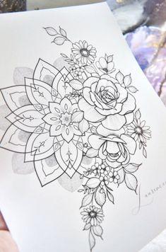 Mandala Tattoos For Women, Mandala Tattoo Sleeve, Mandala Flower Tattoos, Hip Tattoos Women, Shoulder Tattoos For Women, Mandala Rose, Mandala Art, Floral Tattoo Design, Mandala Tattoo Design