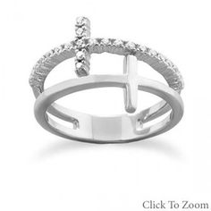 Silver ring with Double Cross and Cubic Zirconia Stones