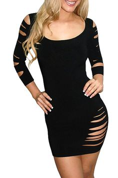 EAST KNITTING N14 2014 New Sexy Club tops women fashion long sleeve Destroyed Cut dress Black Red free shipping