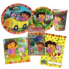 Dora The Explorer Theme Birthday Party Package ~ Invitations, Thank-You Postcards, Dinner Plates, Dessert Plates, Napkins, Cups, and Loot Bags (Treat Sacks) ~ Serves 8 Guests (Toy)  http://savorypins.com/amz.php?p=B007TKXG5U  B007TKXG5U