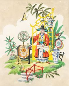 giclee print by Harrison Howard chinoiserie astronomer with armillary sphere and butterflies