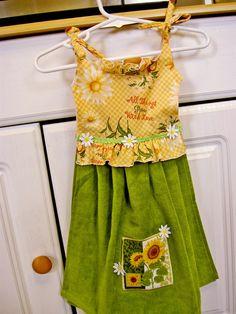 Sunflower Kitchen Hand Towel Hanging Towel Dress by WoopsaDaisies, $15.00