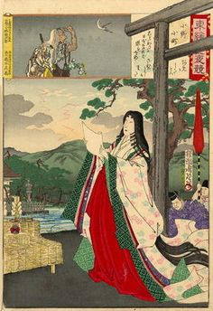 The famous poet Ono-no Komachi reading poetry before a shrine by Toyohara Chikanobu