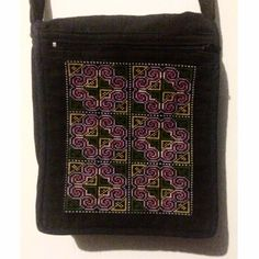 Cross-stitched Crossbody Gorgeous cross-stitched crossbody bag in black. Intricate stitching and in perfect condition. Front and back zipper pouches. Bags Crossbody Bags