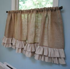 Burlap Ruffled Cafe Curtain by PaulaAndErika on Etsy Cafe Curtains, Diy Curtains, Hanging Curtains, Kitchen Curtains, Burlap Valance, Coffee Bar Home, Home Grown Vegetables, Cafe Style, Country Chic