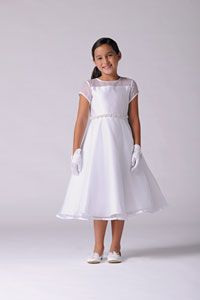 Flower Girl Dresses -   Us Angels Dress Style 214 - WHITE Organza Short Sleeve Dress