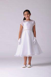 Flower Girl Dresses -   Us Angels Dress Style 214 - WHITE Organza Short Sleeve Dress