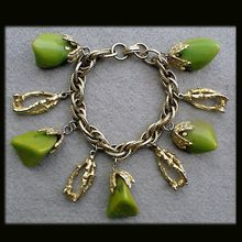 Bakelite Charm Bracelet Chunks of Swirling Green