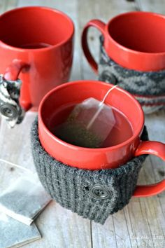 Simple mug cozies made from an old sweater