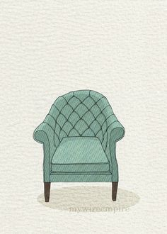 tufted chair (teal wave) - 5x7 print. $10.00, via Etsy.