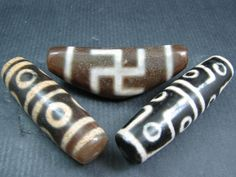 Currently at the #Catawiki auctions: A lot of large 3 agate dzi beads or prayer beads - Tibet / Nepal - late 20th ...