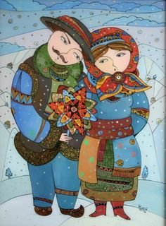 """Christmas carolers"" by Natalia Kuriy-Maksymiv. Oil painting on glass."