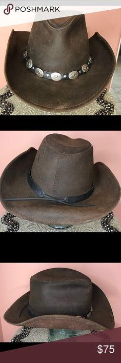 8322eb9e7d5 Leather cowboy cowgirl hat Henschel Leather Cowboy  Cowgirl Hat. Chocolate  Chestnut. Leather