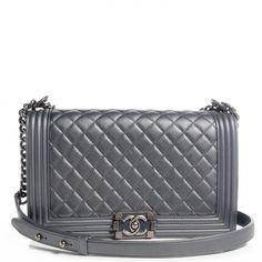 cf32c011b955 Chanel Bag · CHANEL Metallic Calfskin Quilted Medium Boy Flap Dark Silver  66023 Shoulder Pads, Shoulder Strap,