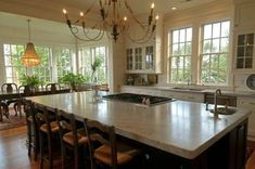 """Want to integrate """"formal"""" with the kitchen. Like for the dining area is framed out but open. Home Farm 1 - traditional - kitchen - charleston - Alix Bragg Interior Design Kitchen Island With Cooktop, Island Cooktop, Eat In Kitchen, Kitchen Decor, Kitchen Ideas, Kitchen Islands, Island Stove, Kitchen Photos, Kitchen Inspiration"""