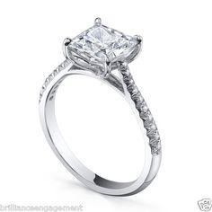 GIA PRINCESS 1.50 CT FRENCH SETTING DIAMOND ENGAGEMENT RING 18K