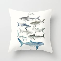 Buy Sharks Throw Pillow by Amy Hamilton. Worldwide shipping available at Society6.com. Just one of millions of high quality products available.