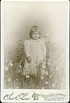 """CABINET PHOTO – GIRL IN """"FIELD"""" OF DAISIES"""