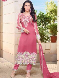 Adorable Pink Color Georgette Strait Cut Salwar Suit