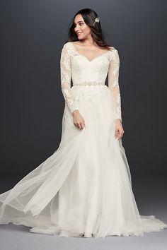 Long Sleeve Wedding Dress With Low Back   David's Bridal Western Wedding Dresses, Long Wedding Dresses, Tulle Wedding, Wedding Gowns, Ivory Wedding, Mermaid Wedding, Gothic Wedding, Wedding Skirt, Wedding Black