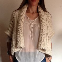 Instructions to Make: the Tunisian Crochet Vest par karenclements Easy Sweater Knitting Patterns, Shrug Knitting Pattern, Crochet Vest Pattern, Knit Patterns, Tunisian Crochet, Knit Crochet, Gilet Kimono, Chunky Yarn, Sweaters