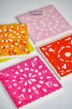 Create the festive and colorful images of Papel Picado, a staple of Day of the Dead, with these 3 easy DIYs including these coasters