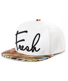 """A white crown provides great contrast for the wild multicolor print bill with a black """"Fresh"""" script embroidery."""