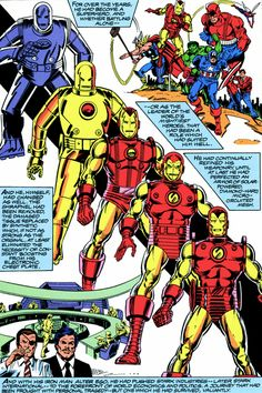 Iron Man suit evolution in comic Marvel Comics Art, Marvel Comic Universe, Bd Comics, Marvel Comic Books, Comic Book Characters, Comic Book Heroes, Marvel Heroes, Comic Books Art, Comic Character