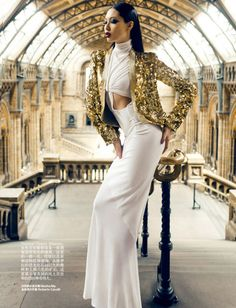 Bonnie Chen in jacket by Roberto Cavalli and dress by Masha Ma, photographed by Zack Zhang for Harper's Bazaar China July 2012.
