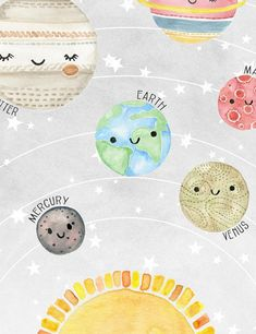 Watercolor Outer Space Wall Art Print for Baby Boy Nursery or Gender Neutral Nursery featuring the Solar System Outer Space Facts, Outer Space Pictures, Space Photos, Outer Space Bedroom, Solar System Art, Systems Art, Childrens Bedroom Decor, Nursery Decor, Elephant Nursery