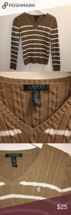 Ralph Lauren Stripe Sweater Ralph Lauren striped 100% cotton sweater. Ralph Lauren emblem initials on left chest of sweater. Size Small Ralph Lauren Sweaters V-Necks