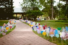 Paper Hearts and Dinosaurs lining the pathway to the ceremony!  Whimsical Pennsylvania Wedding