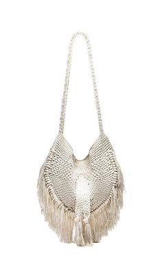 Indah Seasame Hand Crochet Fringe Bag in Natural & Leopard Boho Hippie, Vintage Hippie, Crochet Fringe, Hand Crochet, Hippy Chic, Boho Chic, Ibiza Fashion, Fringe Bags, Market Bag