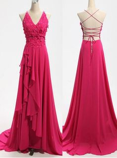 Sexy Prom Dresses,Handmade Floral Evening Party Dresses,Backless Sexy Graduation Dresses,A-line Chiffon bridesmaid Dresses Custom Bridesmaid Dresses Elegant Prom Dresses, Beaded Prom Dress, Backless Prom Dresses, A Line Prom Dresses, Sexy Dresses, Fashion Dresses, Bridesmaid Dresses, Women's Fashion, Fabulous Dresses