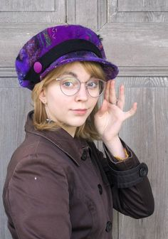 Beautiful fancy felted Newsboy cap, fashionable and unusual wool beanie, in shades of purple with black strap. I made it using technique nuno felting of soft Australian merino wool with vintage silk and cotton fabric and wool curls. Hat is decorated with Black Outfits, All Black Outfit, Hair Accessories For Women, Winter Accessories, Female Pleasure, Black Sundress, Newsboy Cap, Nuno Felting, Felt Hat
