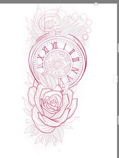 Card Tattoo Designs, Family Tattoo Designs, Clock Tattoo Design, Half Sleeve Tattoo Stencils, Half Sleeve Tattoos Designs, Best Sleeve Tattoos, Tattoo Sketches, Tattoo Drawings, Clock And Rose Tattoo