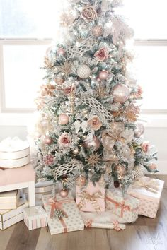 My Blush Pink Flocked Christmas Tree - Summer Adams frontgate christmas, diy christmas deco, ideas for christmas ornaments Rose Gold Christmas Decorations, Elegant Christmas Trees, Flocked Christmas Trees, Christmas Tree Themes, Noel Christmas, Rose Gold Christmas Tree, White Christmas, Summer Christmas, Christmas Quotes