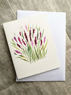 """Minimalist watercolor art, Small wall art with paintings of WWF animals. My philanthropic project """"Wild animal protection"""" - Lavender watercolor greeting card ~ Hand painted card ~ Blank flower card ~Original watercolor pain - Watercolor Cards, Watercolor Flowers, Watercolor Paintings, Watercolor Sketch, Watercolor Pencils, Paint Cards, Art Plastique, Flower Cards, Animal Paintings"""