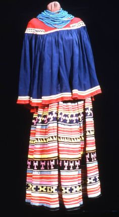 Florida Memory - View of a Seminole Indian dress from the Ah-Tah-Thi-Ki Museum at the Big Cypress Seminole Indian Reservation in Clewiston, Florida. Native American Dress, Native American Regalia, Native American Tribes, Native Americans, Clewiston Florida, Seminole Florida, Seminole Indians, Cowboys And Indians, Native Style