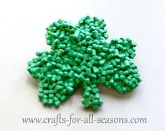 Create this shamrock pin out of tiny bits of pasta! Full tutorial from Crafts For All Seasons.