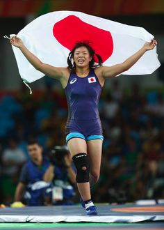 Risako Kawai of Japan celebrates after defeating Maryia Mamashuk of Belarus… 2016 Pictures, Rio Olympics 2016, Rio 2016, Wrestling, Japan, Running, Celebrities, Sexy, Congratulations